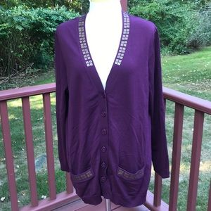 Pendleton 2X dark wine color embellished cardigan